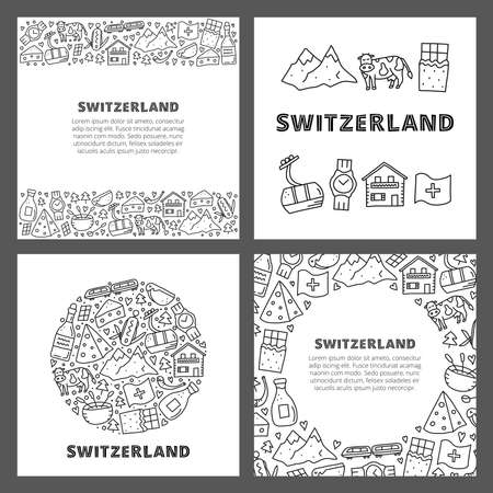 Set of cards with doodle outline Switzerland travel icons.  イラスト・ベクター素材