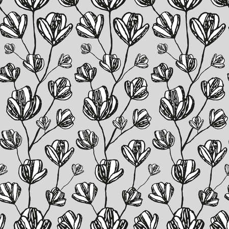 Seamless pattern with sketched flowers. 向量圖像