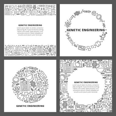 Set of cards with lettering and doodle genetic engineering icons. 向量圖像