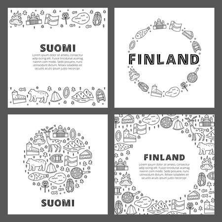 Set of cards with lettering and doodle outline finland icons.