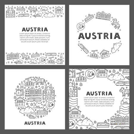 Set of cards with lettering and doodle outline Austria icons. 版權商用圖片 - 153570288