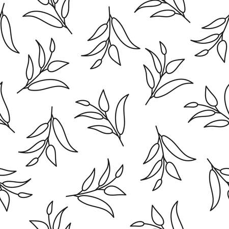 Seamless pattern with leaves silhouettes.