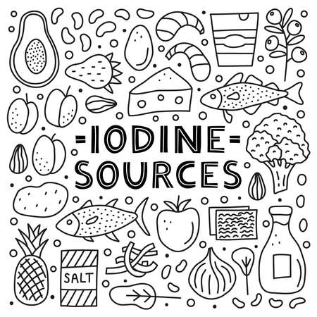 Poster with lettering and doodle outline iodine foods sources. Çizim