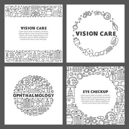 Set of cards with doodle outline ophthalmology icons.