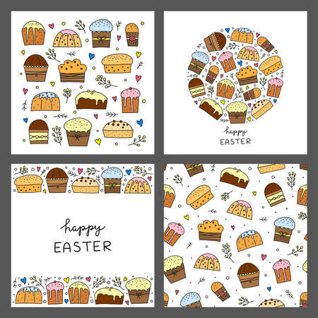 Set of cards with doodle colored Easter kulich cakes. 向量圖像