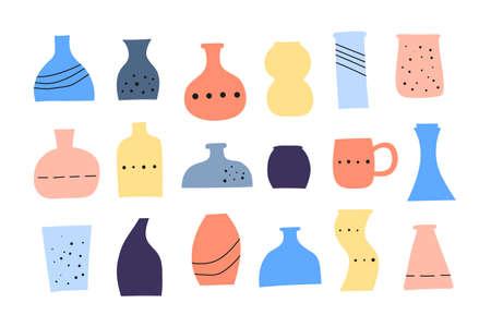 Set of doodle colorful vases. 向量圖像