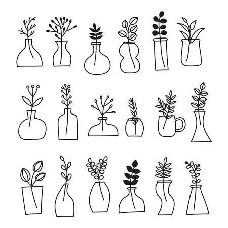 Set of doodle wild plants, herbs, twigs, berries in vases, pots, jars. 向量圖像