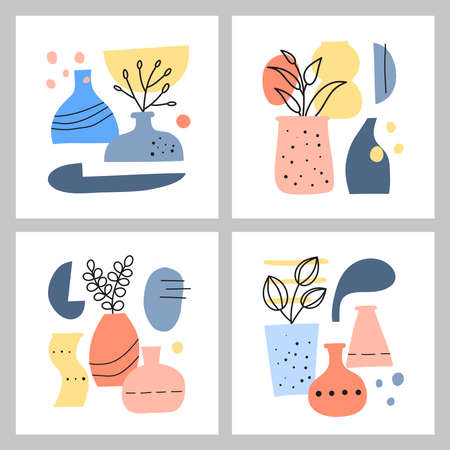 Set of card templates with spots, dots, vases, leafy twigs, herbs.