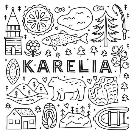 Poster with lettering and doodle outline Karelia icons.