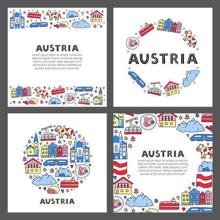 Set of cards with lettering and doodle colored Austria icons. 版權商用圖片 - 153570296