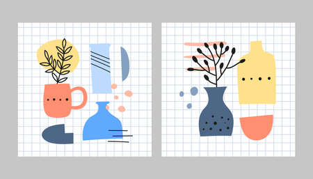 Card templates with spots, dots, vases, leafy twigs, herbs.