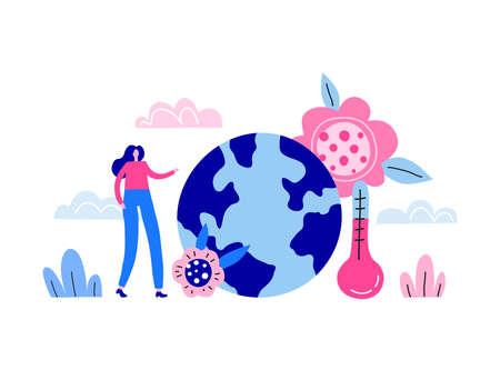 Tiny woman character, Earth planet and meteorology thermometer. 向量圖像