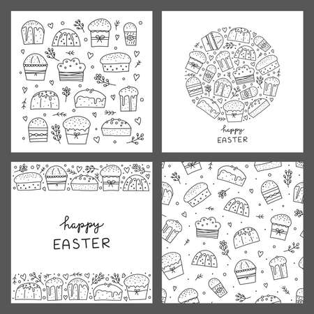 Set of cards with doodle outline Easter kulich cakes. 版權商用圖片 - 155771044