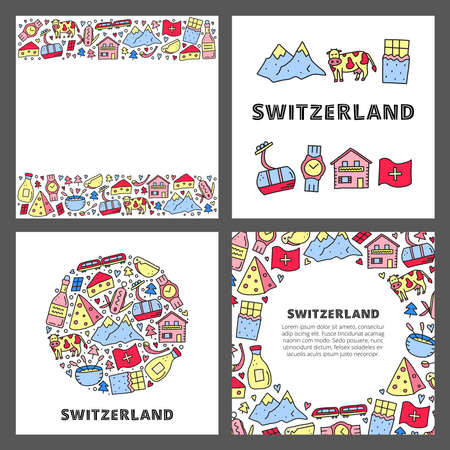 Set of cards with doodle outline Switzerland travel icons. 向量圖像