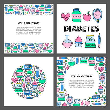 Set of cards with doodle outline diabetes items. Ilustracje wektorowe