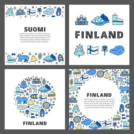 Set of cards with lettering and doodle colored finland icons. 版權商用圖片 - 155850889