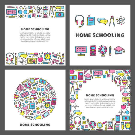 Set of cards with doodle colored education icons.