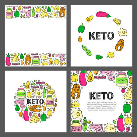 Set of cards with lettering and doodle colored keto diet foods.