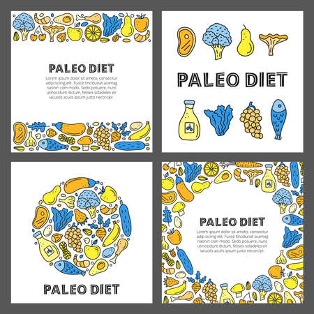 Set of cards with doodle colored paleo foods.