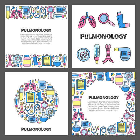 Set of cards with lettering and doodle colored pulmonology items. 向量圖像
