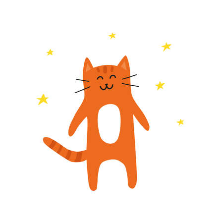 Cute doodle ginger smiling cat with stars around.