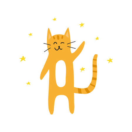 Cute doodle ginger winking cat with stars around.
