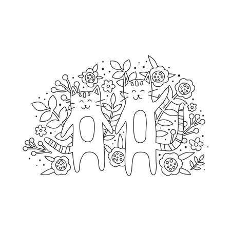 Doodle cats and flowers illustration for coloring book.
