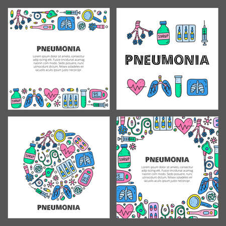 Set of cards with lettering and doodle pneumonia icons.