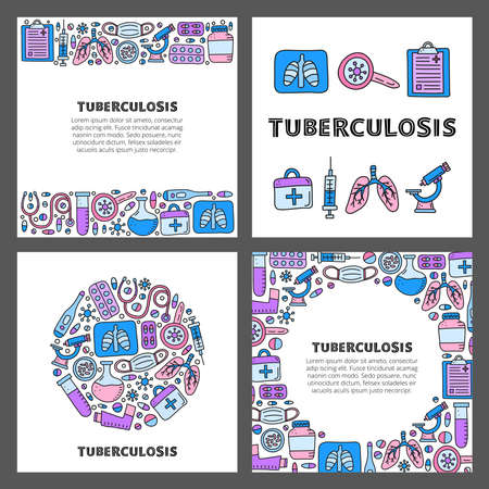 Set of cards with lettering and doodle tuberculosis items.