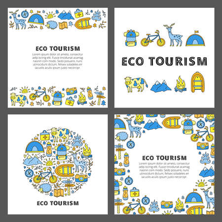 Set of cards with lettering and doodle eco tourism icons. 向量圖像
