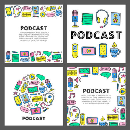 Set of cards with lettering and doodle podcast icons.