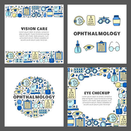 Set of cards with doodle ophthalmology icons.