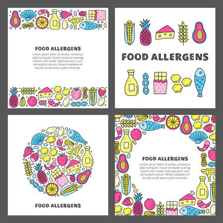 Set of cards with doodle food allergens. 向量圖像