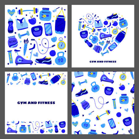 Set of cards with colored gym and fitness icons. 版權商用圖片 - 155850900