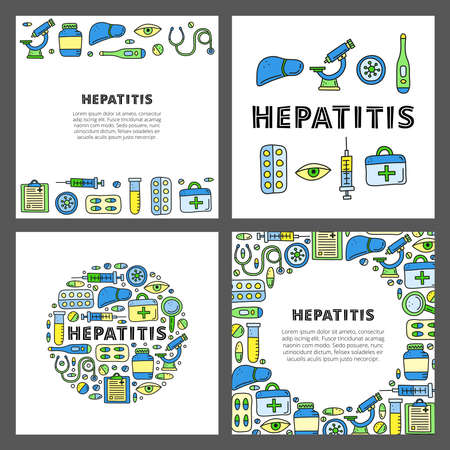 Set of cards with doodle hepatitis icons.