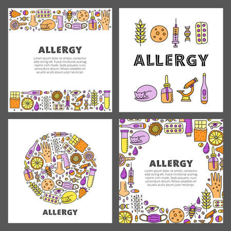 Set of cards with lettering and doodle allergy icons.