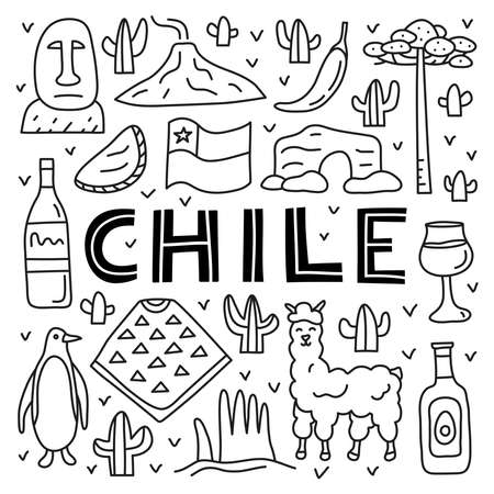 Poster with lettering and doodle outline Chile icons. 向量圖像