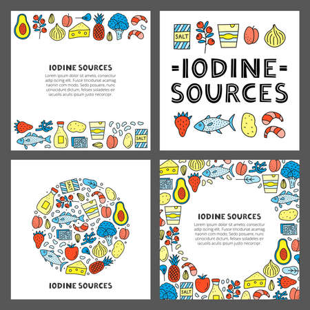 Set of cards with lettering and doodle colored iodine food sources. Vecteurs