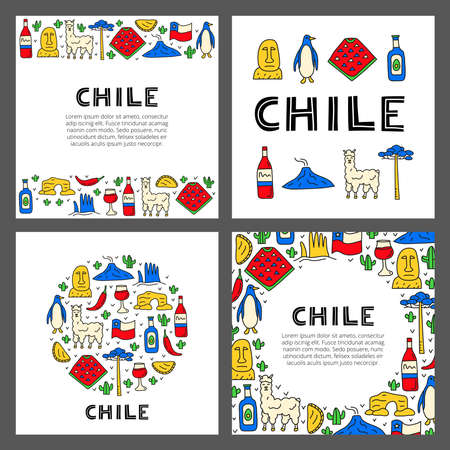 Set of cards with lettering and doodle colored Chile icons.