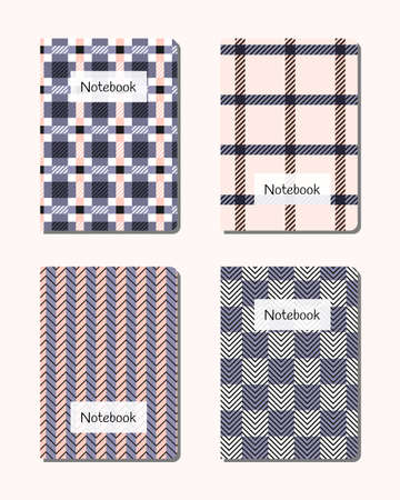 Notebook covers with tartan plaid designs. 向量圖像