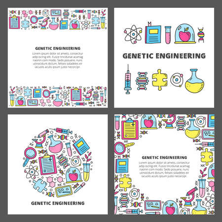 Set of cards with lettering and doodle colored genetic engineering icons. 向量圖像