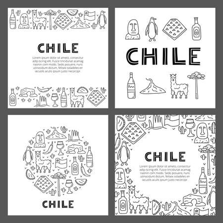 Set of cards with lettering and doodle outline Chile icons.