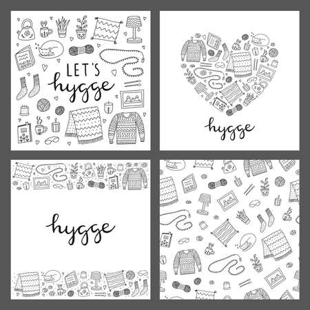 Set of cards with doodle hygge icons.