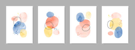 Set of minimalist watercolor contemporary posters.