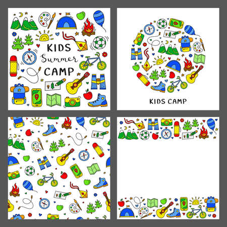 Set of cards with children camp, outdoor icons.
