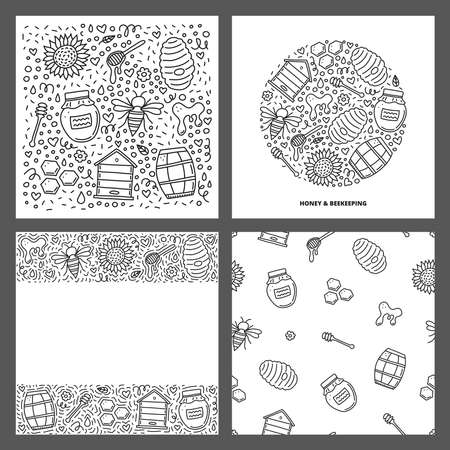 Set of cards with doodle honey icons.
