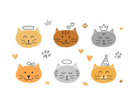 Set of cat faces with outline doodles.