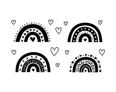 Set of Scandinavian rainbows with hearts.