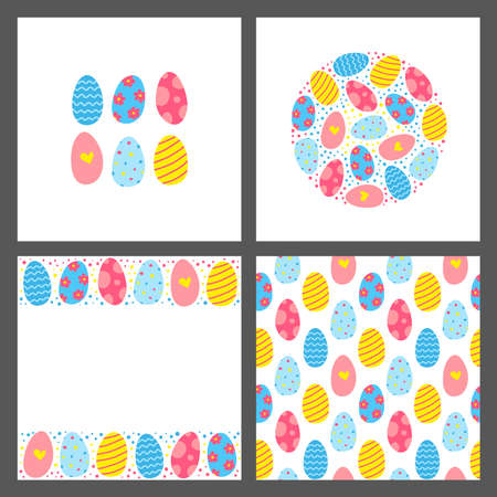 Set of cards with doodle decorative Easter eggs.