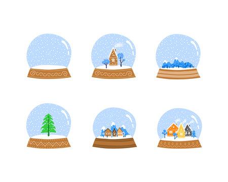 Set of winter doodle glass globe balls.